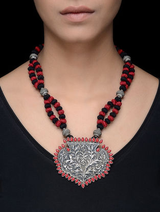 Coral Silver Thread Necklace