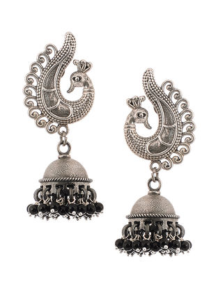Black Tribal Silver Jhumkis with Peacock Design