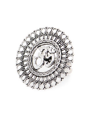 Tribal Silver Adjustable Ring with Aum Design