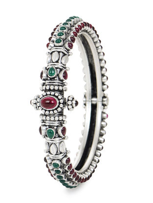 Pink-Green Hinged Opening Silver Bangle (Bangle Size -2/2)