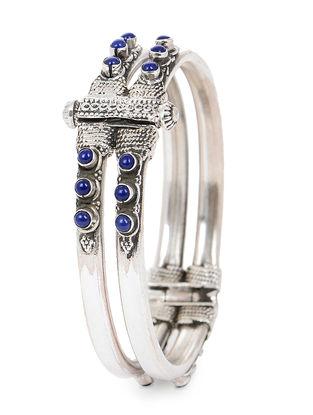 Lapis Lazuli Hinged Opening Silver Bangle (Bangle Size -2/2)