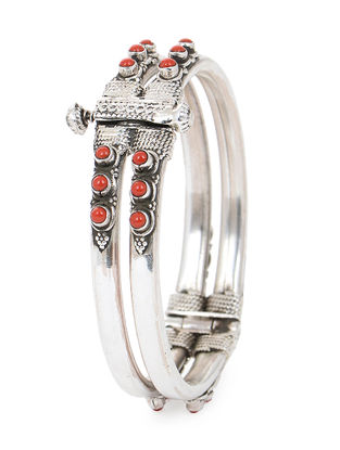 Red Hinged Opening Silver Bangle (Bangle Size -2/2)