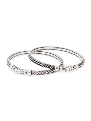 Tribal Silver Bangles (Bangle Size -2/2) (Set of 2)