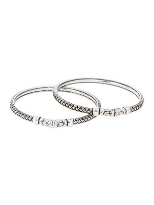 Tribal Silver Bangles (Bangle Size -2/4) (Set of 2)