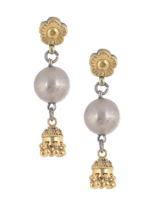 Dual Tone Tribal Silver Jhumkis with Floral Design