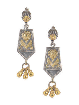 Dual Tone Tribal Silver Earrings with Floral Motif