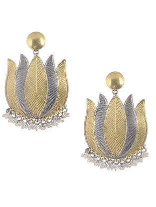 Dual Tone Tribal Silver Earrings with Lotus Design