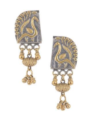 Dual Tone Tribal Silver Earrings with Peacock Motif