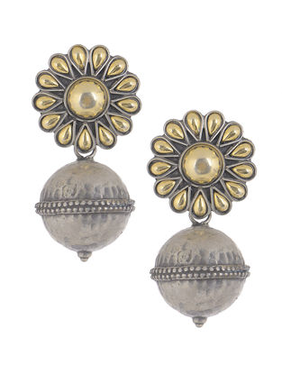 Dual Tone Tribal Silver Earrings with Floral Design