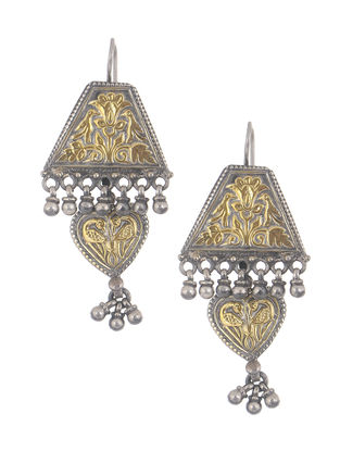 Dual Tone Tribal Silver Earrings with Peacock Motif