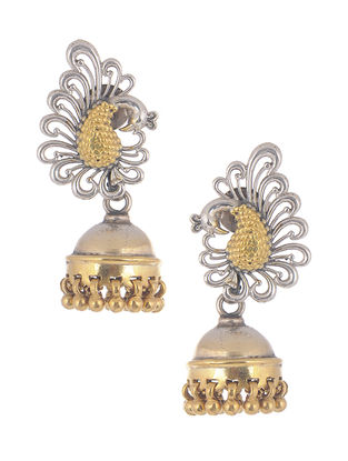 Dual Tone Tribal Silver Jhumkis with Peacock Design