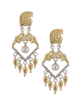 Dual Tone Tribal Silver Earrings with Pearls