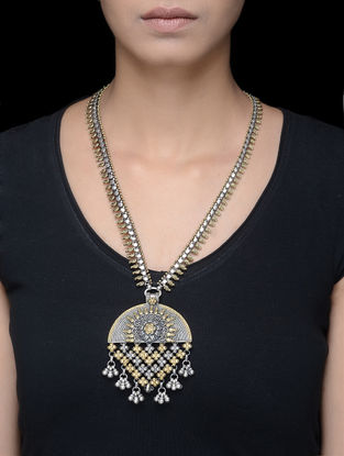 Dual Tone Tribal Silver Necklace with Floral Design