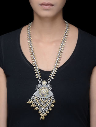 Dual Tone Tribal Silver Necklace with Deity Motif