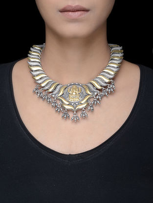 Dual Tone Tribal Silver Necklace with Lord Ganesha Motif