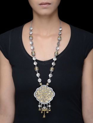 Dual Tone Tribal Silver Necklace with Floral Motif