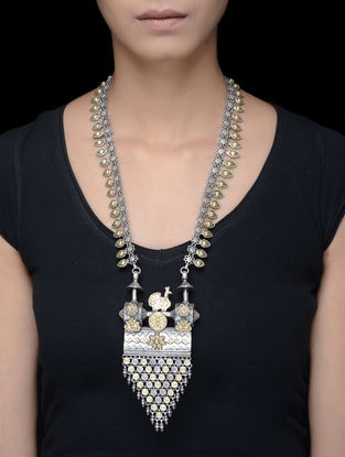 Dual Tone Tribal Silver Necklace with Peacock Motif