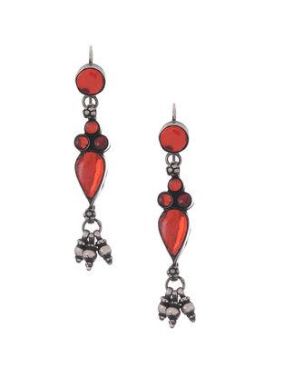 Red Tribal Silver Glass Earrings