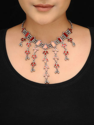 Red Tribal Silver Glass Necklace
