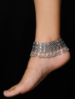 Tribal Silver Glass Anklets (Set of 2)