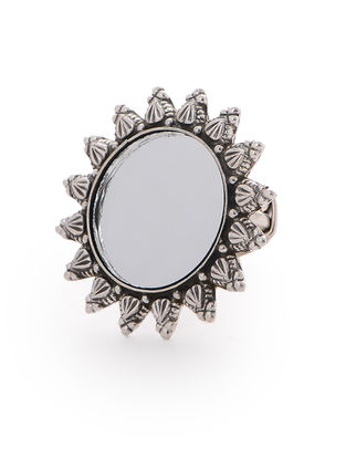 Tribal Silver Adjustable Ring with Mirror
