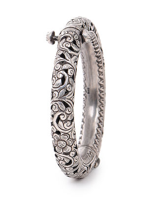 Hinged Opening Tribal Silver Bangle(Bangle Size - 2/6)