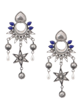 Lapis Lazuli and Pearl Tribal Silver Earrings with Floral Design
