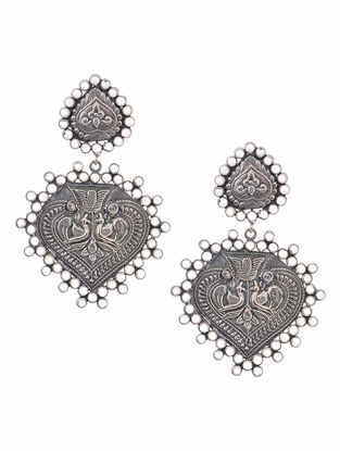 Crystal Tribal Silver Earrings with Peacock Motif