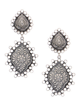 Crystal Tribal Silver Earrings with Floral Motif
