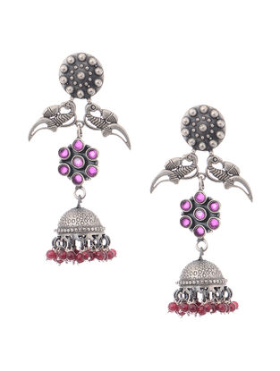 Pink-Purple Tribal Silver Jhumkis with Bird Design