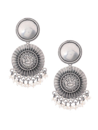 Pearl Tribal Silver Earrings with Lord Ganesha Motif