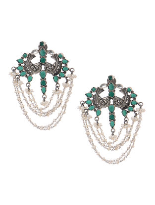 Green Tribal Silver Earrings with Pearls