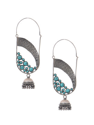 Turquoise Tribal Silver Jhumkis