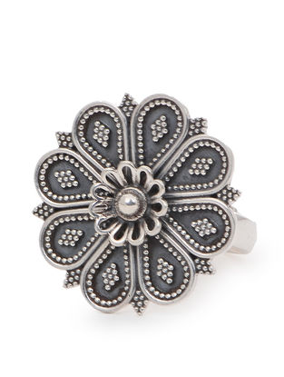 Tribal Silver Adjustable Ring with Floral Design