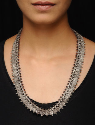 Black Tribal Silver Necklace with Deity Motif