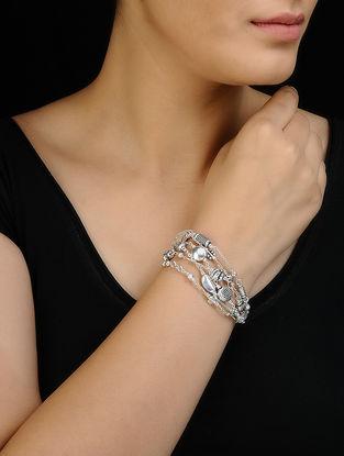 Tribal Silver Bracelet with Floral Design