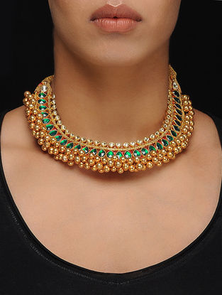 Kundan-Inspired Gold Tone Silver Necklace
