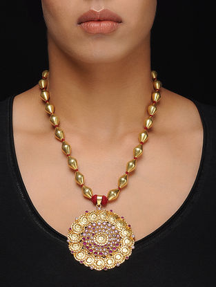 Ruby Gold Tone Dholki Beaded Silver Necklace