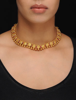 Ruby Gold Tone Silver Necklace
