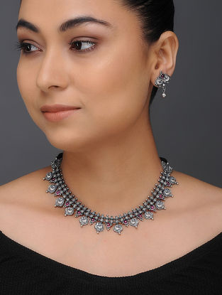 Spinel Ruby Tribal Silver Necklace with a Pair of Earrings (Set of 2)