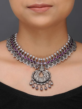 Spinel Ruby Tribal Silver Necklace with Floral Design