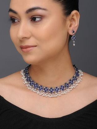 Blue Tribal Silver Necklace with a Pair of Earrings (Set of 2)