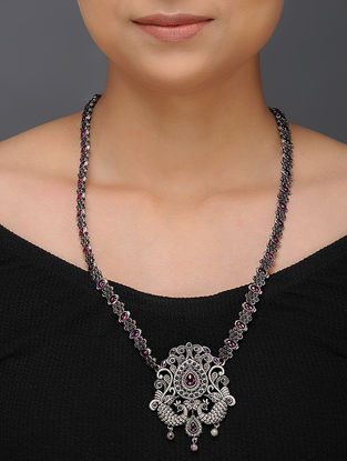Spinel Ruby Tribal Silver Necklace with Peacock Design