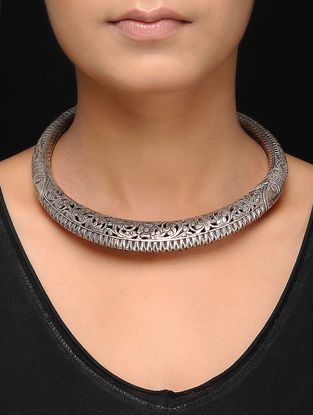 Tribal Silver Hasli with Floral Motif