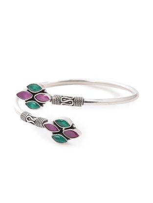 Pink-Green Silver Cuff