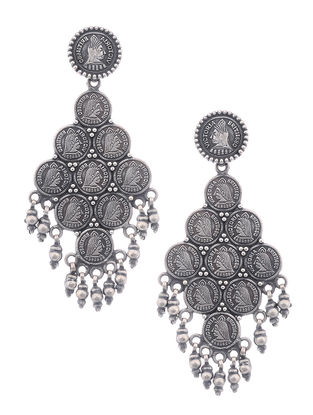 Tribal Silver Earrings with Coin Design
