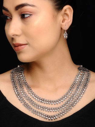 Tribal Silver Necklace with a Pair of Earrings (Set of 2)