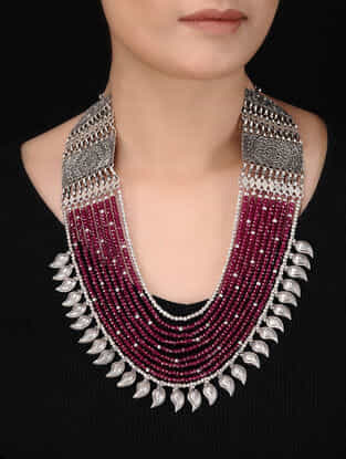 Ruby Multi-String Beaded Silver Necklace