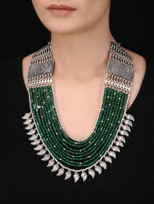 Green Multi-String Beaded Silver Necklace