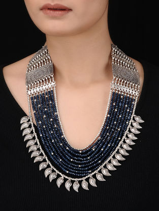 Blue Multi-String Beaded Silver Necklace